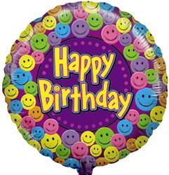 18''(45см) шар   круг с днем рождения улыбки фиолетовый