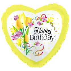 Шар 18'' (45см)  сердце     с днем рождения желтые цветы желтый