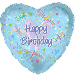 Шар 18'' (45см)  сердце     с днем рождения стрекозы голубой