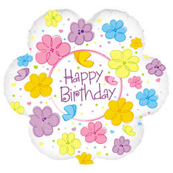 Шар 18'' (45см)  фигура     цветок с днем рождения бабочки и цветы белый