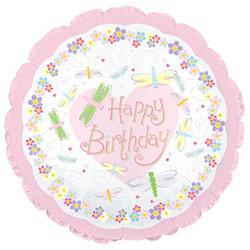 Шар 18'' (45см)  круг     с днем рождения насекомые розовый