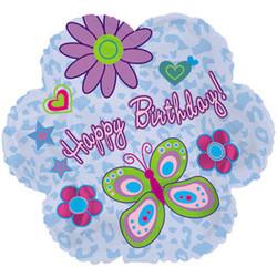 Шар 18'' (45см)  фигура     цветок с днем рождения ромашки голубой