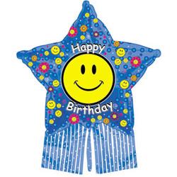 38''(96см) шар   звезда с днем рождения счастливая звезда синий