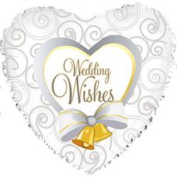 Шар 18'' (45см)  сердце     свадебные колокольчики белый