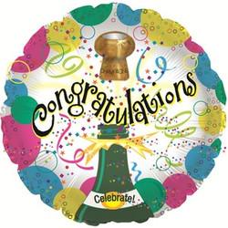 Шар 18'' (45см)  круг     поздравляю пузырьки шампанского