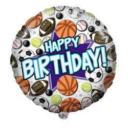 Шар 18'' (45см)  круг     с днем рождения спортивные мячи белый