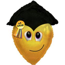22''(55см) шар   фигура смайл-выпускник желтый
