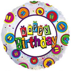 Шар 18'' (45см)  круг     с днем рождения танцующие подарки голография