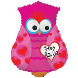 Шар 22'' (55см)  фигура     влюбленная сова розовый