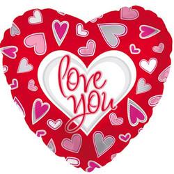 Шар 18'' (45см)  сердце     я люблю тебя причудливые сердца красный