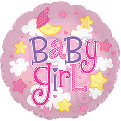 24''(60см) шар   круг малышка-девочка облака розовый