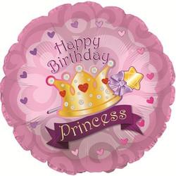 Шар 18'' (45см)  круг     с днем рождения корона принцессы розовый