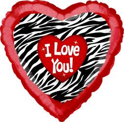 Шар 31'' (78см)  сердце     любовь окрас зебры с рюшками