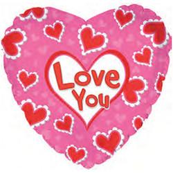 Шар 18'' (45см)  сердце     я люблю тебя сердца в узорах розовый