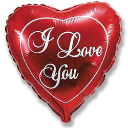 Шар 32'' (81см)  сердце     я люблю тебя красный