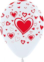 Шар 14'' (36см)     красное сердце белый пастель