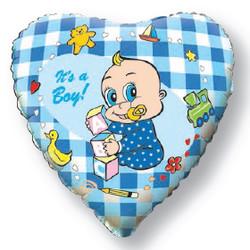 Шар 18'' (45см)  сердце     новорожденный мальчик голубой