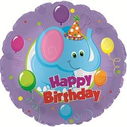18''(45см) шар   круг с днем рождения слоник фиолетовый