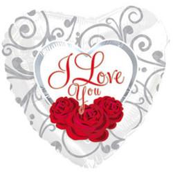 Шар 18'' (45см)  сердце     я люблю тебя три розы  белом белый