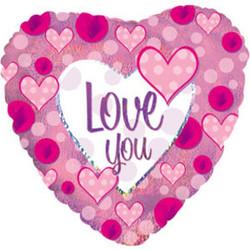 Шар 18'' (45см)  сердце     я люблю тебя розовые сердечки голография