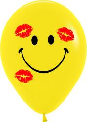 14''(36см) Шар   Смайл в поцелуях Желтый  пастель