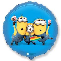 18''(45см) шар   круг миньоны вечеринка синий