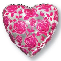 18''(45см) шар   сердце розы фуше