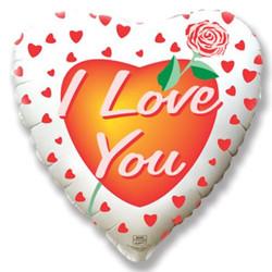 18''(45см) шар   сердце роза любви белый
