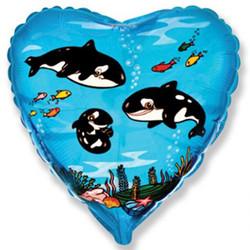 18''(45см) шар   сердце киты синий