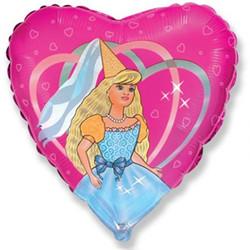 Шар 18'' (45см)  сердце     танцующая девушка розовый
