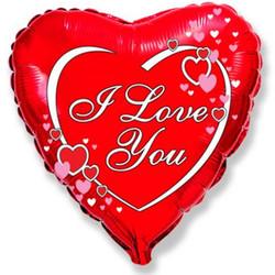 Шар 18'' (45см)  сердце     я люблю тебя влюбленные сердца красный