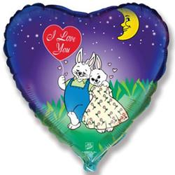 Шар 18'' (45см)  сердце     влюбленные зайчата