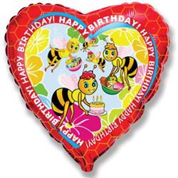 Шар 18'' (45см)  сердце     с днем рождения пчелы красный