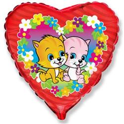 Шар 18'' (45см)  сердце     коты с цветами фуше