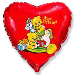 18''(45см) шар   сердце с днем рождения мишки на лошадке красный