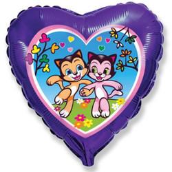 18''(45см) шар   сердце счастливые котята фиолетовый