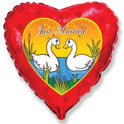 Шар 18'' (45см)  сердце     лебедимолодожены красный