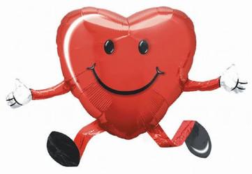 Шар 19'' (48см)  ходячая фигура     сердечко малое красный в упаковке