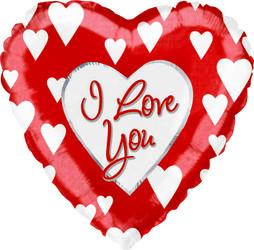Шар 31'' (78см)  сердце     я люблю тебя белые сердца красный