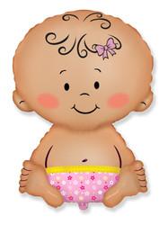 32''(81см) шар   фигура малышка девочка розовый