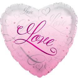 Шар 18'' (45см)  сердце     романтичная любовь розовый