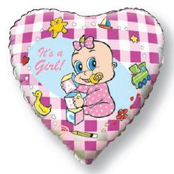 18''(45см) шар   сердце новорожденная девочка розовый