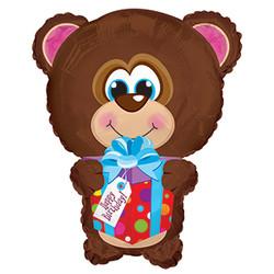22''(55см) шар   фигура мишка с подарком коричневый