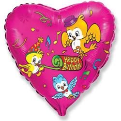 Шар 18'' (45см)  сердце     с днем рождения птички розовый