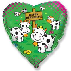 18''(45см) шар   сердце с днем рождения коровы зеленый