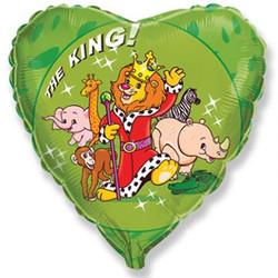 18''(45см) шар   сердце царь зверей зеленый
