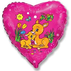 18''(45см) шар   сердце оленята фуше