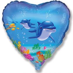 18''(45см) шар   сердце счастливый дельфин голубой