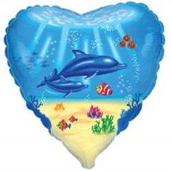 18''(45см) шар   сердце дельфинья семья голубой