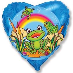18''(45см) шар   сердце счастливый лягушонок синий